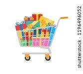 shopping cart full of colorful... | Shutterstock .eps vector #1196496052