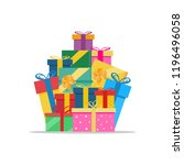 big pile of colorful wrapped... | Shutterstock .eps vector #1196496058