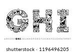 doodle alphabet letters g h i.... | Shutterstock .eps vector #1196496205