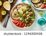 an appetizing dinner or lunch... | Shutterstock . vector #1196500438