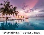 endless beach pool  sunset sky...   Shutterstock . vector #1196505508