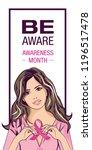 pop art woman. breast cancer... | Shutterstock .eps vector #1196517478