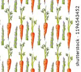 seamless pattern with carrots... | Shutterstock .eps vector #1196543452