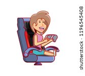 girl sitting playing video game | Shutterstock .eps vector #1196545408
