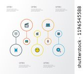 multimedia icons colored line...   Shutterstock .eps vector #1196545588