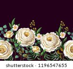 border with english  roses and... | Shutterstock .eps vector #1196547655