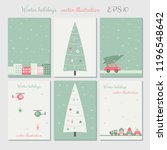 christmas city decoration cards ... | Shutterstock .eps vector #1196548642