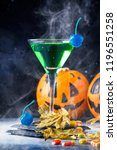 halloween composition with... | Shutterstock . vector #1196551258