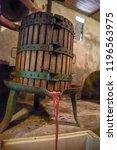 winemaking. old wooden wine...   Shutterstock . vector #1196563975