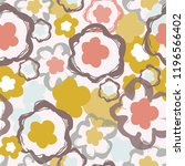 retro 1960's floral pattern ... | Shutterstock .eps vector #1196566402