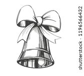 bell with bow hand drawn vector ... | Shutterstock .eps vector #1196566432