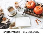 autumn breakfast in bed... | Shutterstock . vector #1196567002