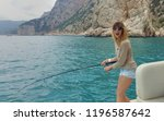 fishing from the yacht on the... | Shutterstock . vector #1196587642
