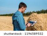 man farmer uses tablet in the...   Shutterstock . vector #1196589532