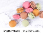 colorful macaroons on stone... | Shutterstock . vector #1196597638