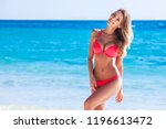 happy tanned girl in red bikini ... | Shutterstock . vector #1196613472