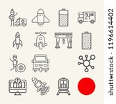 set of 15 vehicle outline icons ... | Shutterstock . vector #1196614402