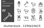 outline style icon pack for... | Shutterstock .eps vector #1196614615