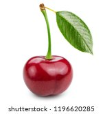 cherry with leaf isolated on... | Shutterstock . vector #1196620285