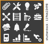 set of 15 tool filled icons... | Shutterstock .eps vector #1196623498