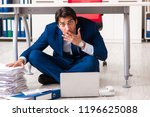 tired exhausted businessman... | Shutterstock . vector #1196625088