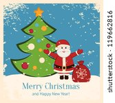 retro christmas card with happy ... | Shutterstock .eps vector #119662816