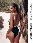 young beautiful girl in black... | Shutterstock . vector #1196712658