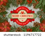 vintage christmas greeting card ...   Shutterstock .eps vector #1196717722