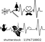 heartbeat christmas icons ... | Shutterstock .eps vector #1196718802