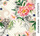 watercolor and ink doodle... | Shutterstock . vector #1196725375