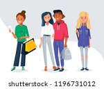 group of young people in... | Shutterstock .eps vector #1196731012