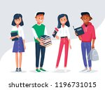 diverse college or university... | Shutterstock .eps vector #1196731015