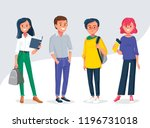 diverse college  university... | Shutterstock .eps vector #1196731018
