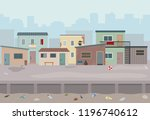 slum. huts and old ruined...   Shutterstock .eps vector #1196740612