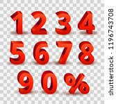 set of bright red 3d style font ... | Shutterstock .eps vector #1196743708