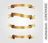 set of golden ribbons vector. | Shutterstock .eps vector #1196744302