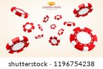 red 3d casino chips or flying... | Shutterstock .eps vector #1196754238
