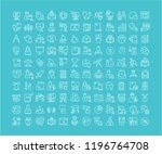 collection of line white icons... | Shutterstock .eps vector #1196764708