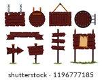 cartoon wooden sign set with... | Shutterstock .eps vector #1196777185