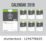 vector wall calendar of 2019... | Shutterstock .eps vector #1196798635