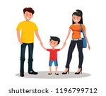 happy young family. father ... | Shutterstock .eps vector #1196799712