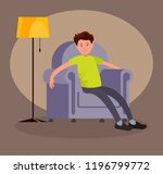 a tired man came home from work ... | Shutterstock .eps vector #1196799772