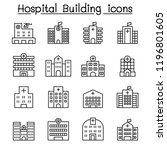 hospital building icon set in... | Shutterstock .eps vector #1196801605