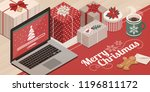 laptop loading christmas app ... | Shutterstock .eps vector #1196811172