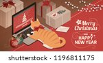 Stock vector cute red cat lying on the laptop keyboard and watching christmas app loading on the screen 1196811175