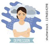 sad  unhappy woman suffers from ... | Shutterstock .eps vector #1196814298