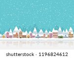 the town in the snow falling... | Shutterstock .eps vector #1196824612