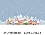 the town in the snow falling... | Shutterstock .eps vector #1196824615