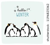 hello winter with cute penguin... | Shutterstock .eps vector #1196825362
