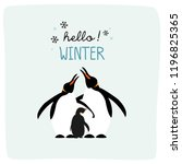 hello winter with cute penguin... | Shutterstock .eps vector #1196825365